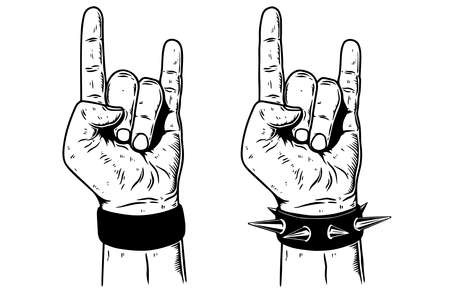 hand with rock and roll sign on white background. Design element for emblem, card, banner, t-shirt. Vector illustration