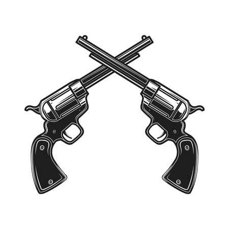 Illustration of crossed revolvers in engraving style. Design element for label, sign, poster, t shirt. Vector illustration Vecteurs