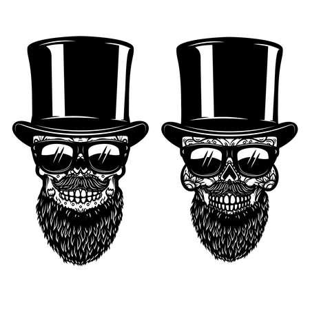 Illustration of bearded mexican sugar skull in sunglasses.