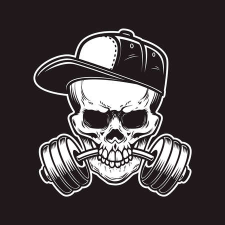 Illustration of skull with barbell in teeth in engraving style. Skull in baseball cap.