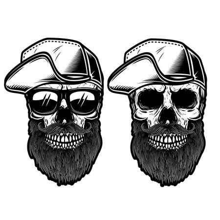 Illustration of bearded skull in baseball cap in engraving style.