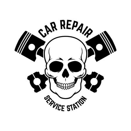 Car repair. Service station. Emblem template with skull and crossed pistons.