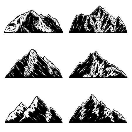 Set of illustrations of mountains peaks in vintage monochrome style.