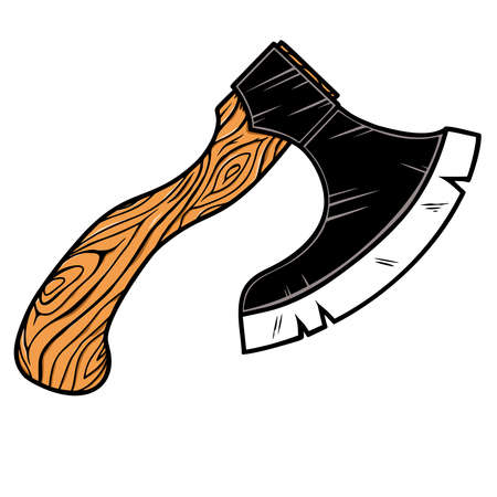 Illustration of lumberjack ax in vintage monochrome style.