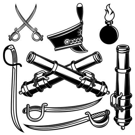Set of illustrations of hussar weapon. Sabers, cannons.