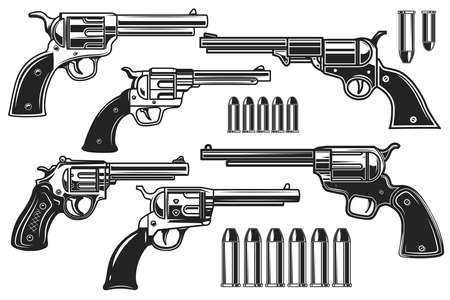 Set of illustrations of revolvers and cartridges. Design element for label, sign, poster, t shirt. Vector illustration Vektoros illusztráció