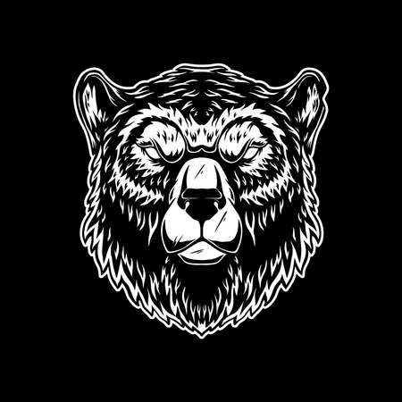 Illustration of head of grizzly bear in vintage monochrome style.