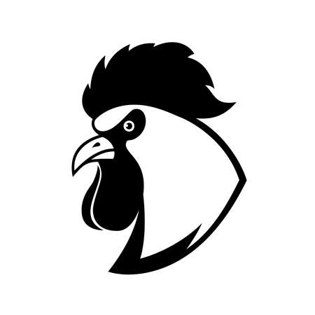 Illustration of rooster head in engraving style. Design element for  label, sign, poster, t shirt. Vector illustration 矢量图像