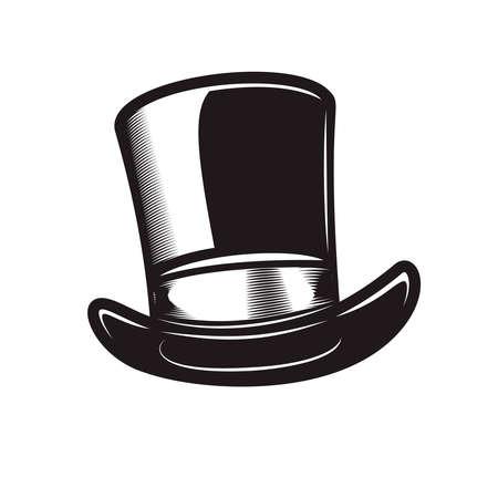 Illustration of retro gentleman hat in engraving style.
