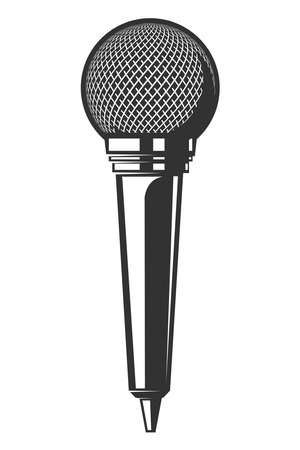 Illustration of retro microphone isolated on white background.