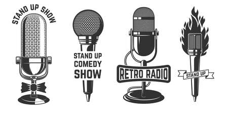 Stand up show. Set of emblems with retro microphones. Design element for label, sign, poster, t shirt. Vector illustration 矢量图像