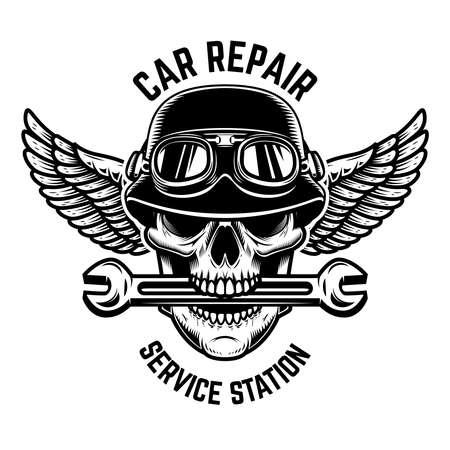 Car repair. Skull in winged helmet with wrench in teeth. 矢量图像