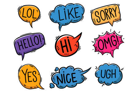Set of hand drawn comic style speech bubbles. Design element for poster, card, banner, t shirt. Vector illustration 矢量图像