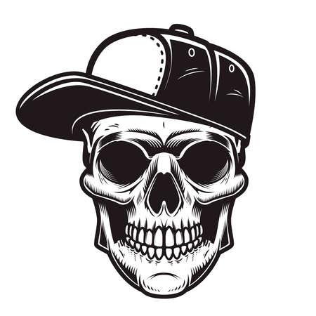 Illustration of skull in baseball cap in engraving style.