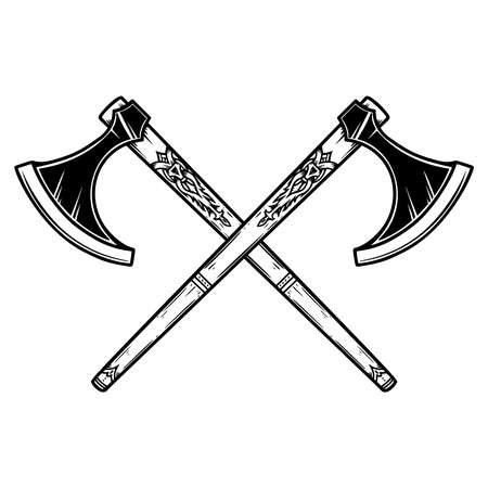 Illustration of two crossed viking ax in engraving style. 矢量图像
