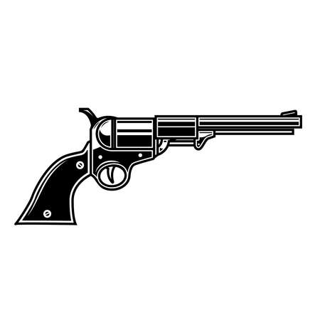 Illustration of retro cowboy revolver. Design element for emblem, sign, poster, card, banner. Vector illustration