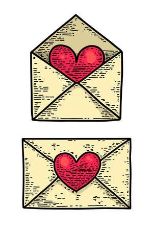 Set of illustrations of love letter in engraving style. Design element for poster, card, banner, sign, flyer. Vector illustration 矢量图像