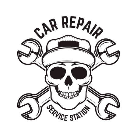 Car repair. Service station. Emblem template with skull and crossed wrenches.