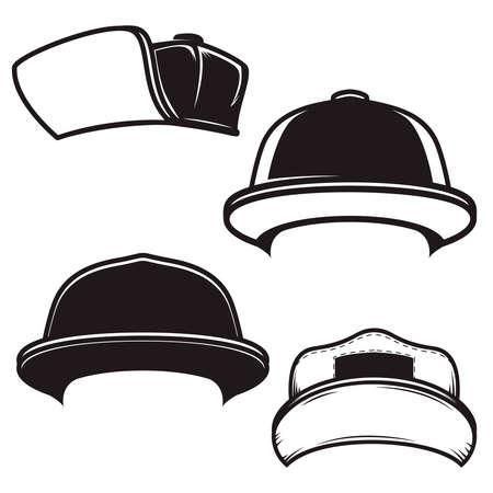 Set of illustrations of baseball caps. Design element for  emblem, sign, poster, card, banner. Vector illustration