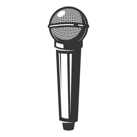 Illustration of retro microphone isolated on white background 矢量图像