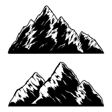 Set of illustrations of mountains in engraving style. Design element for  emblem, sign, poster, card, banner. Vector illustration