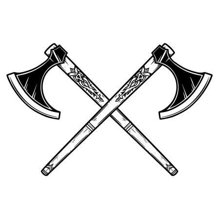 Illustration of two crossed viking ax in engraving style. Design element for  emblem, sign, poster, card, banner. Vector illustration 矢量图像