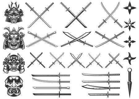 Set of illustrations of weapon of samurai and ninja. Design element for  label, sign, poster, t shirt. Vector illustration 矢量图像
