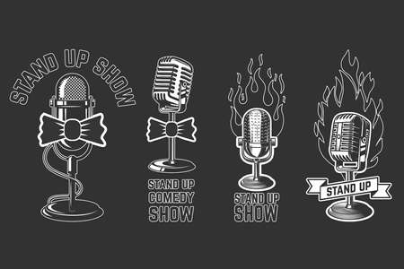 Stand up show. Set of emblems with retro microphones. Design element for  label, sign, poster, t shirt. Vector illustration