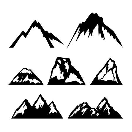 Set of icons of mountains. Design element for   emblem, sign, poster, card, banner. Vector illustration