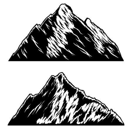 Set of illustrations of mountains in engraving style. Design element for emblem, sign, poster, card, banner. Vector illustration 矢量图像