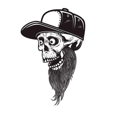 Illustration of bearded skull in baseball cap in engraving style. 矢量图像