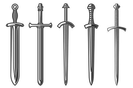 Set of illustrations of ancient swords in engraving style. 矢量图像