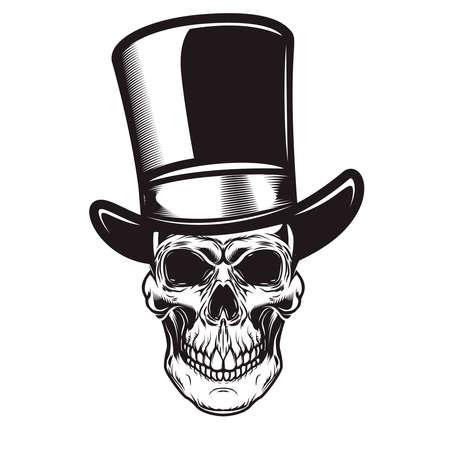 Illustration of skull in retro hat in engraving style.