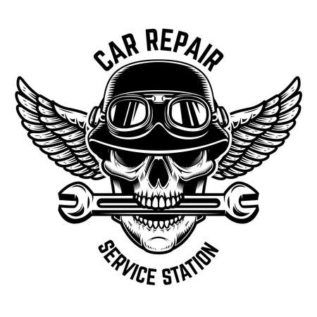 Car repair. Skull in winged helmet with wrench in teeth.