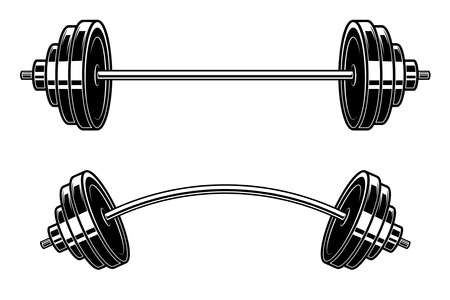 Illustration of barbell engraving style.