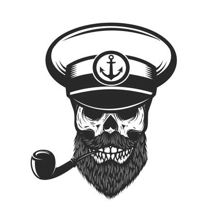 Illustration of bearded skull of sea captain. Design element for  emblem, sign, poster, card, banner. Vector illustration 矢量图像
