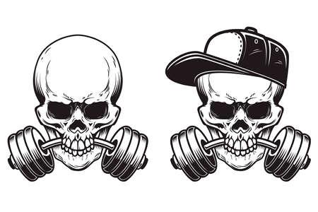 Illustration of skull with barbell in teeth in engraving style. Skull in baseball cap.