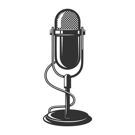 Illustration of retro microphone isolated on white background. Design element for poster, card, banner, label, sign, badge, t shirt. Vector illustration 矢量图像