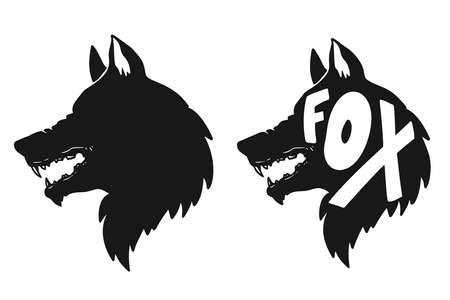 Illustration of silhouette of fox. Design element for poster, card, banner, t shirt. Vector illustration 矢量图像