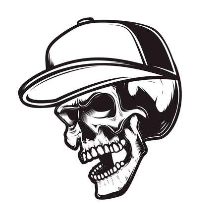 Illustration of skull in baseball cap in engraving style. Design element for   emblem, sign, poster, card, banner. Vector illustration 矢量图像