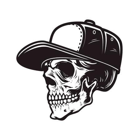 Illustration of skull in baseball cap in engraving style. 矢量图像