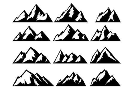Set of icons of mountains. Design element for emblem, sign, poster, card, banner. Vector illustration 일러스트