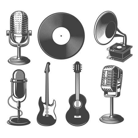 Set of illustrations of retro microphone, guitars, gramophone.
