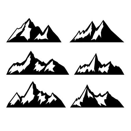 set of the mountains illustrations isolated on white background. Design elements for   label, emblem, sign, brand mark. Vector illustration. 일러스트