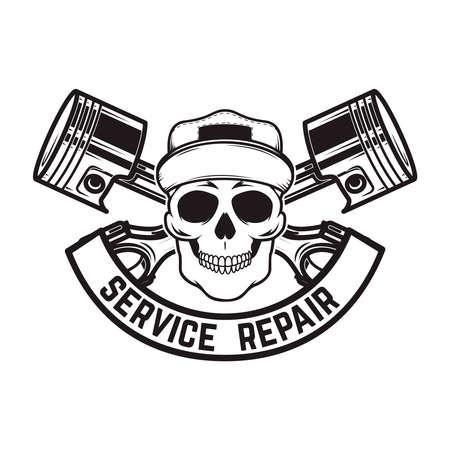 Car repair. Service station. Emblem template with skull and crossed pistons. Design element for logo, emblem, sign, poster, card, banner. Vector illustration Ilustracja