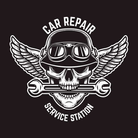 Car repair. Skull in winged helmet with wrench in teeth. Design element for logo, label, sign, t shirt. Vector illustration