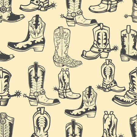 Seamless pattern with cowboy boots. Design element for poster, card, banner, clothes decoration. Vector illustration