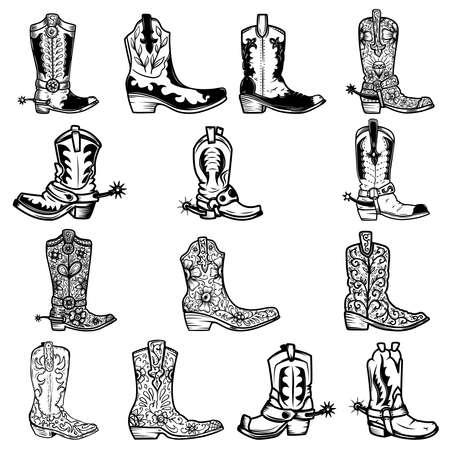 Set of illustration of cowboy boots in vintage monochrome style. Design element for logo, emblem, sign, poster, card, banner. Vector illustration