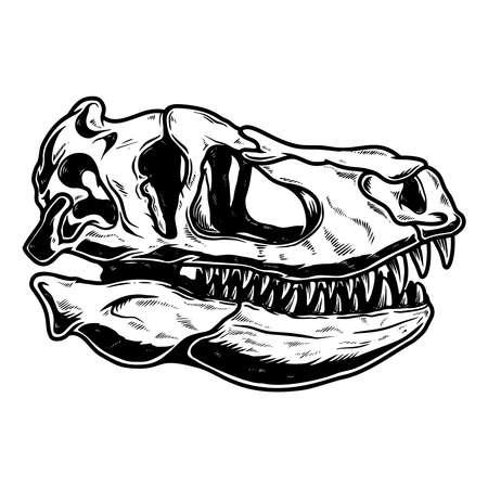 Illustration of skull of Tyrannosaurus dinosaur in vintage monochrome style. Design element for logo, emblem, sign, poster, card, banner. Vector illustration 矢量图像