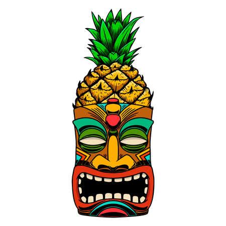 Illustration of Tiki tribal wooden mask. Design element for logo, emblem, sign, poster, card, banner. Vector illustration